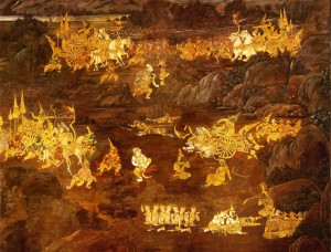 Tosakan takes the form of Phra Indra